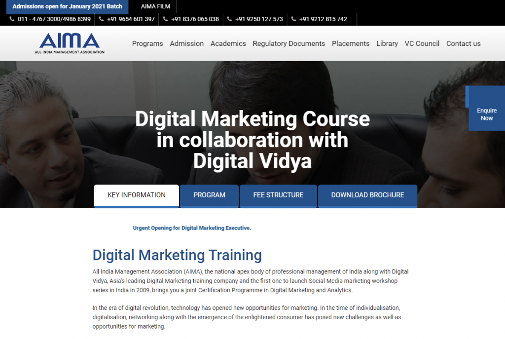 Digital Marketing Course in collaboration with Digital Vidya AIMA PG Courses